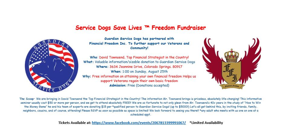 Service Dogs Save Lives™ Freedom Fundraiser @ Guardian Service Dogs